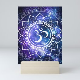 Om Mandala: Violet & Teal Galaxy Mini Art Print