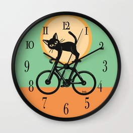 Cat loves a bike Wall Clock