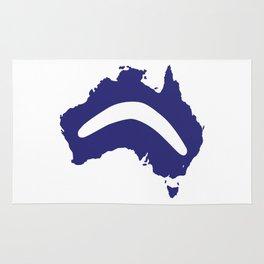 Australia Silhouette With Boomerang Rug