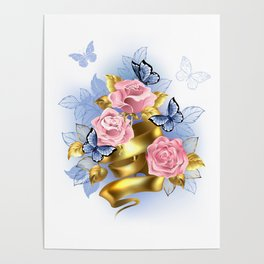 Pink Roses with Gold Ribbon Poster