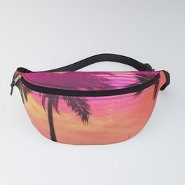 Pink vaporwave landscape with rocks and palms Fanny Pack