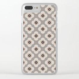 Starburst Floral, Greige background Clear iPhone Case