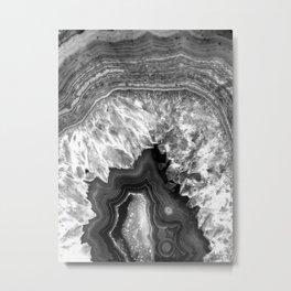 Black and White Agate Metal Print