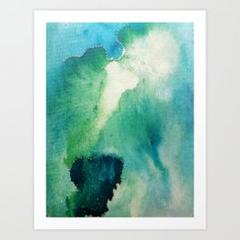 Abstract blue green watercolour sky Art Print
