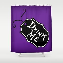 """Drink Me"" Alice in Wonderland styled Bottle Tag Design in 'Shy Violets' Shower Curtain"