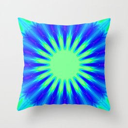 Aqua Starburst Throw Pillow