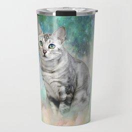 Purrsia Kitty Cat in the Emerald Nebula of Innocence Travel Mug