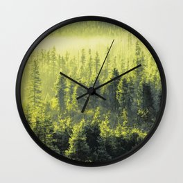 Green forest Oil painting Wall Clock