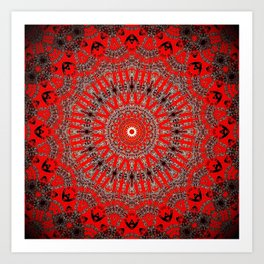 Rich Red Vintage Mandala Art Print