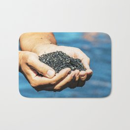 Amazing black pebble beach near Maratea, Basilicata, Italy Bath Mat
