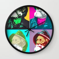 lichtenstein Wall Clocks featuring Warhol, Lichtenstein & The Fisherman by Christoffer Dupont