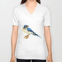 swallow V-neck T-shirts featuring Swallow by Meg Ashford