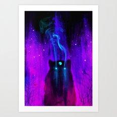 God of Wolves: Neon Flux Art Print