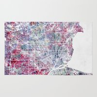 detroit Area & Throw Rugs featuring Detroit map by MapMapMaps.Watercolors