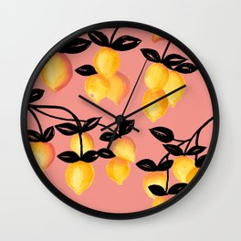Yellow Lemon Branches, Pink Background Wall Clock