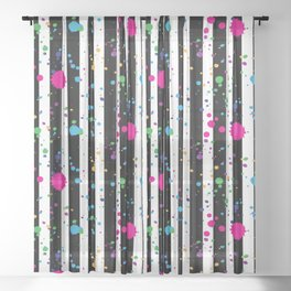 Stripes & Rainbow Splatter Sheer Curtain