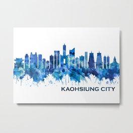 Kaohsiung City Taiwan Skyline Blue Metal Print