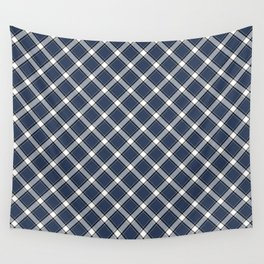 Navy Blue, White, and Black Diagonal Plaid Pattern Wall Tapestry