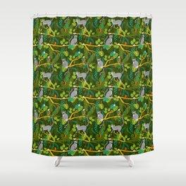 Lemurs in a Green Jungle Shower Curtain