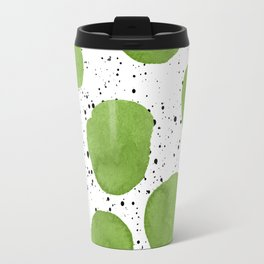 Modern green watercolor polka dots black brushstrokes greenery color of the year pattern Travel Mug