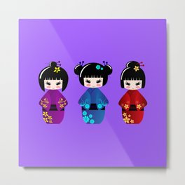 Cute kokeshi dolls cartoon Metal Print