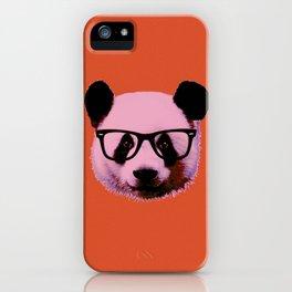 Panda with Nerd Glasses in Orange iPhone Case