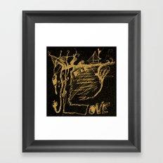 Black Yellow World - Abstract Love - Valentine Framed Art Print