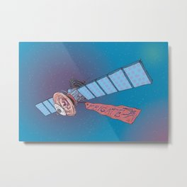 Satellite Frigate in space. Metal Print