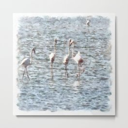 A Flamboyant Pat Of Flamingos Metal Print
