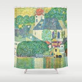 """Gustav Klimt """"Church in Unterach on the Attersee"""" Shower Curtain"""