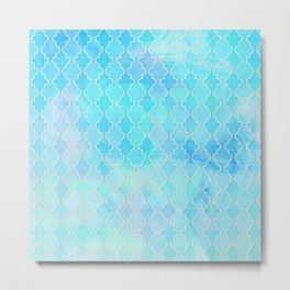 Liquid blue Moroccan print Metal Print