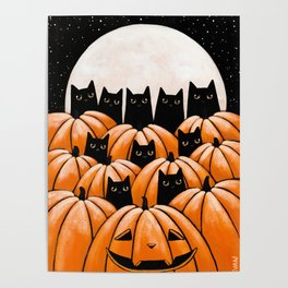Black Cats in the Pumpkin Patch Poster