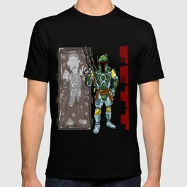 Totally FETT-UP!  The galaxy's coolest bounty hunter is HERE! Boba Fett and Han Solo from Star Wars T-shirt