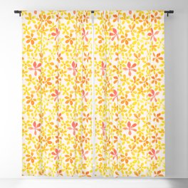 Retro Flowers - Yellow and Orange Blackout Curtain
