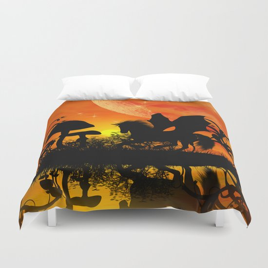 Beautiful unicorn silhouette Duvet Cover