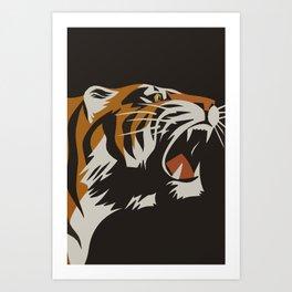 Tiger, Vintage Minimalist Art Art Print
