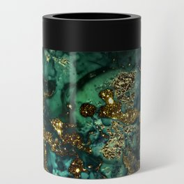 Gold Indigo Malachite Marble Can Cooler