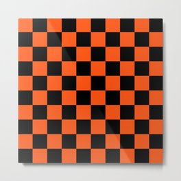 Black and Orange Checkerboard Pattern Metal Print