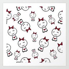 Bubble head girl in love repeating pattern Art Print