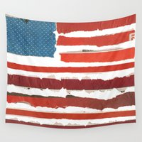 american flag Wall Tapestries featuring American Flag  by Robert Payton