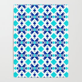 Morrocan blue tiles with marble texture Poster