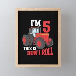 5th Birthday Tractor loving Kid 5 Year Old Farmer Framed Mini Art Print