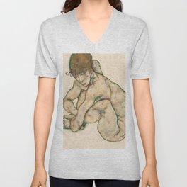 """Egon Schiele """"Crouching nude girl"""" Unisex V-Neck"""