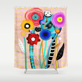 Yellow Polka Dots Floral Bouquet Shower Curtain