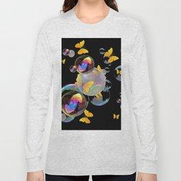 SURREAL GOLDEN YELLOW BUTTERFLIES  & SOAP BUBBLES Long Sleeve T-shirt