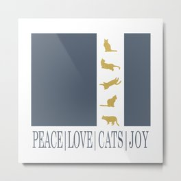 Christmas Gold Cat - PEACE | LOVE | CATS | JOY Metal Print