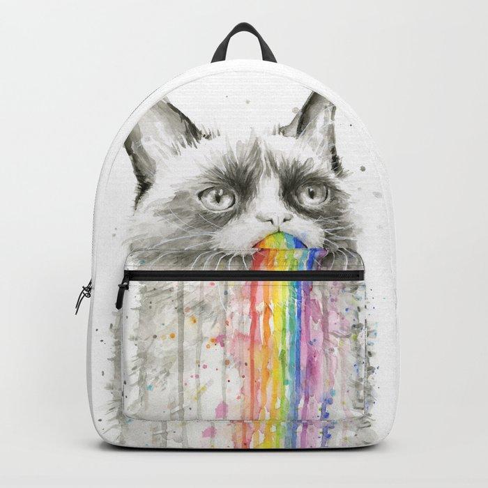Grumpy Rainbow Cat Watercolor Animal Meme Geek Art Backpack