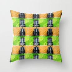 Vintage Apartment Balconies Throw Pillow