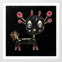 fawn Art Prints featuring Fawn by Elisabeth Fredriksson