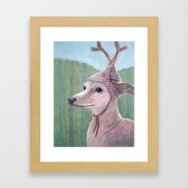 Dog with Antlers Framed Art Print